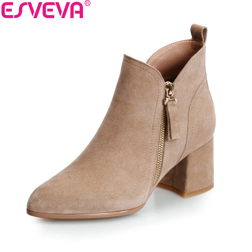 ESVEVA 2018 Women Boots Zippers Square High Heels Appointment Warm Fur Pointed Toe Ankle Boots Chunky Ladies Shoes Size 34-39 esveva 2018 high heels women boots short plush boots square heels elegant chunky pointed toe ankle boots ladies shoes size 34 39