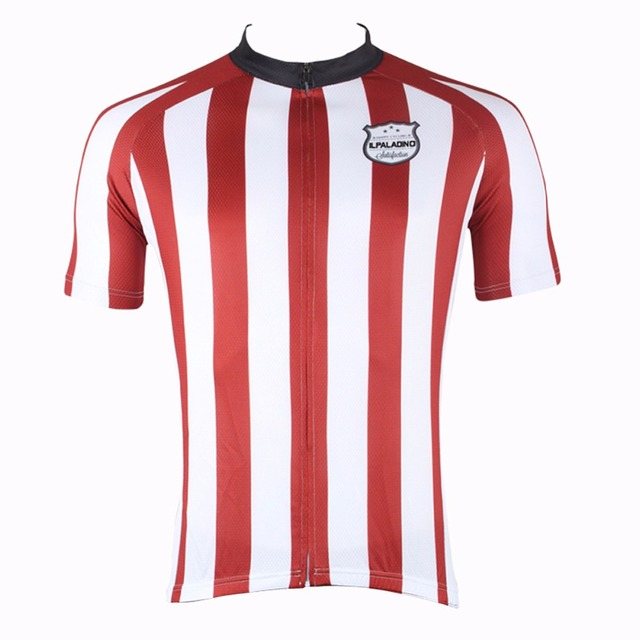 ILPALADINO Men Cycling Jersey Short Sleeve Top Wear Vertical Red And White  Stripes Tight Comfortable MTB Bike Clothing c874f07c8