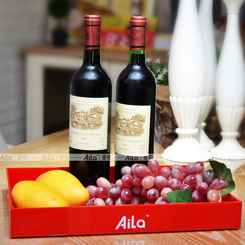 New red rectangle durable acrylic serving tray for Decorative wine glasses cheap