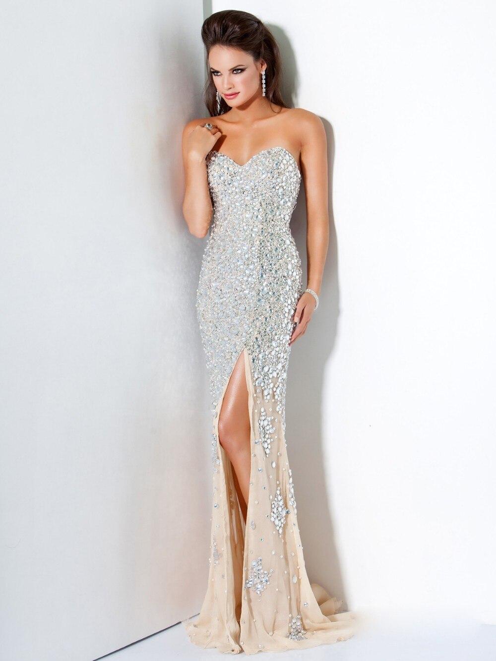 2015 luxe blanc strass Long de bal robes de soirée robe sirène en mousseline de soie