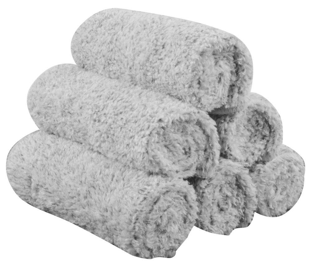 Sinland Microfibra de Fibra de Carvão Vegetal de Bambu Mão Toalha de Rosto Do Bebê Washcloths Facial 12 Polegada x 12 Polegada 6 Pack Light Grey