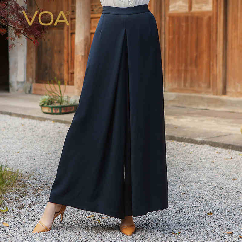 VOA 2017 Autumn Blue Silk Solid High Waist Wide Leg Pants Office Ladies Simple Plus Size Loose Thickness Women Trouser K7530
