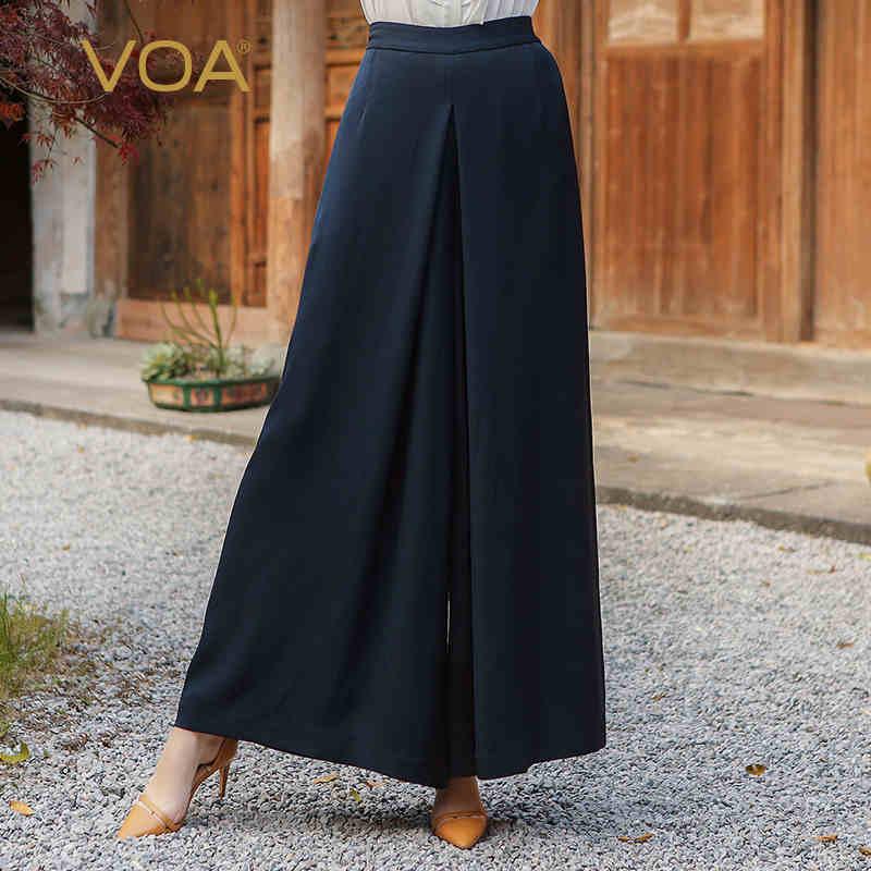 VOA 2017 automne bleu soie solide taille haute jambe large pantalon - Vêtements pour femmes - Photo 1