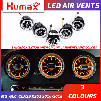 For Mercedes GLC class x253 GLC 200 LED turbine air vent LED air condition vent synchronizedwith ambient light vent 3 colors