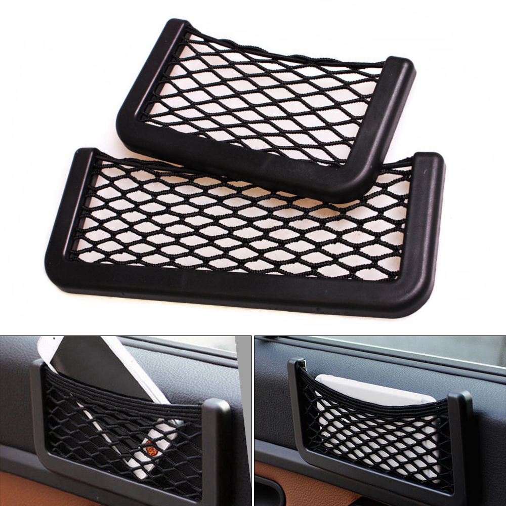 Multifunction Elastic Net Car Storage String Bag for Cell phone and Small Items Designed with 3M Double sided Adhesive Tape