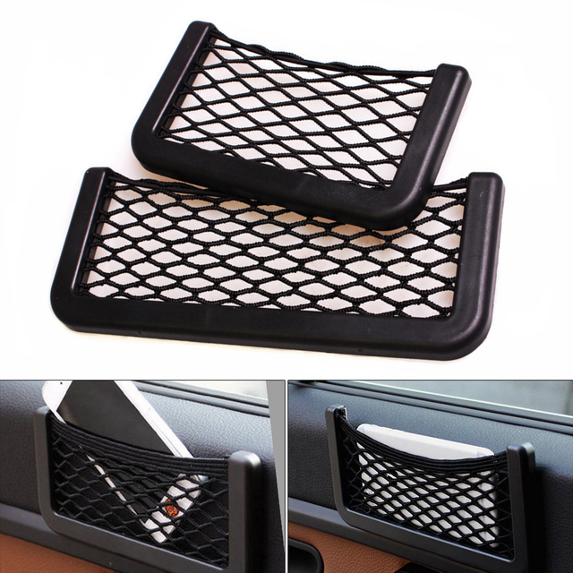 Multifunction Elastic Net Car Storage String Bag for Cell phone and Small Items Designed with 3M Double-sided Adhesive Tape
