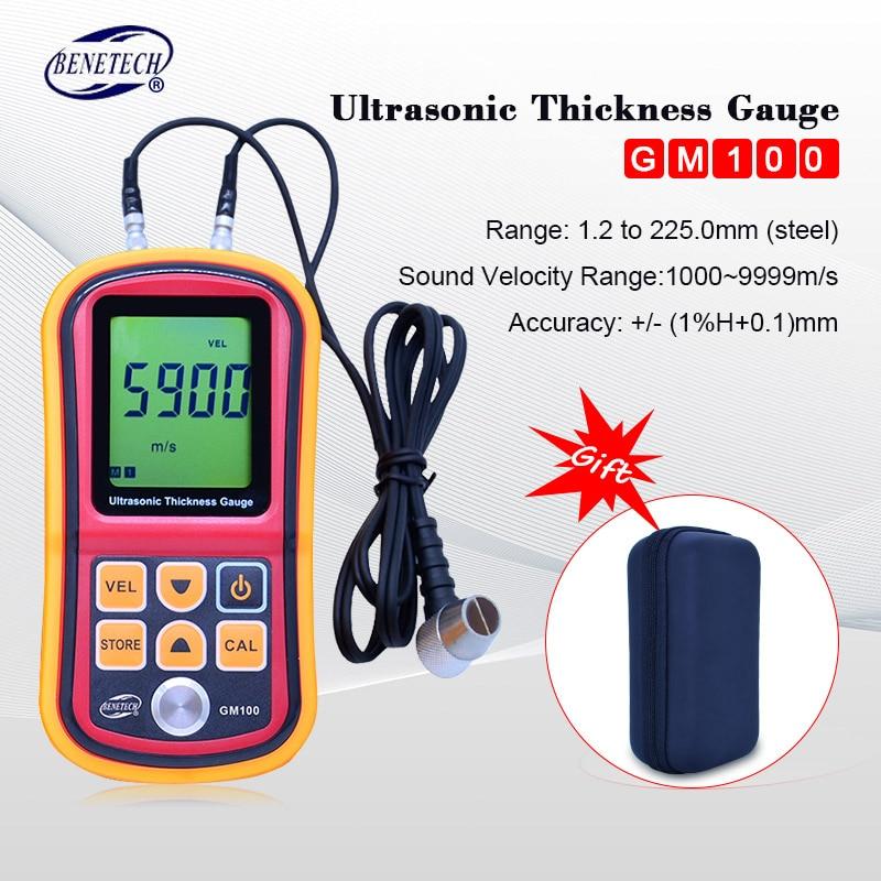 Benetech GM100 Ultrasonic medidor de espessura 1.2-225mm (de Aço) LCD Digital Ultrasonic Medidor Da Espessura de Tester Medidor 0.1mm Resolução