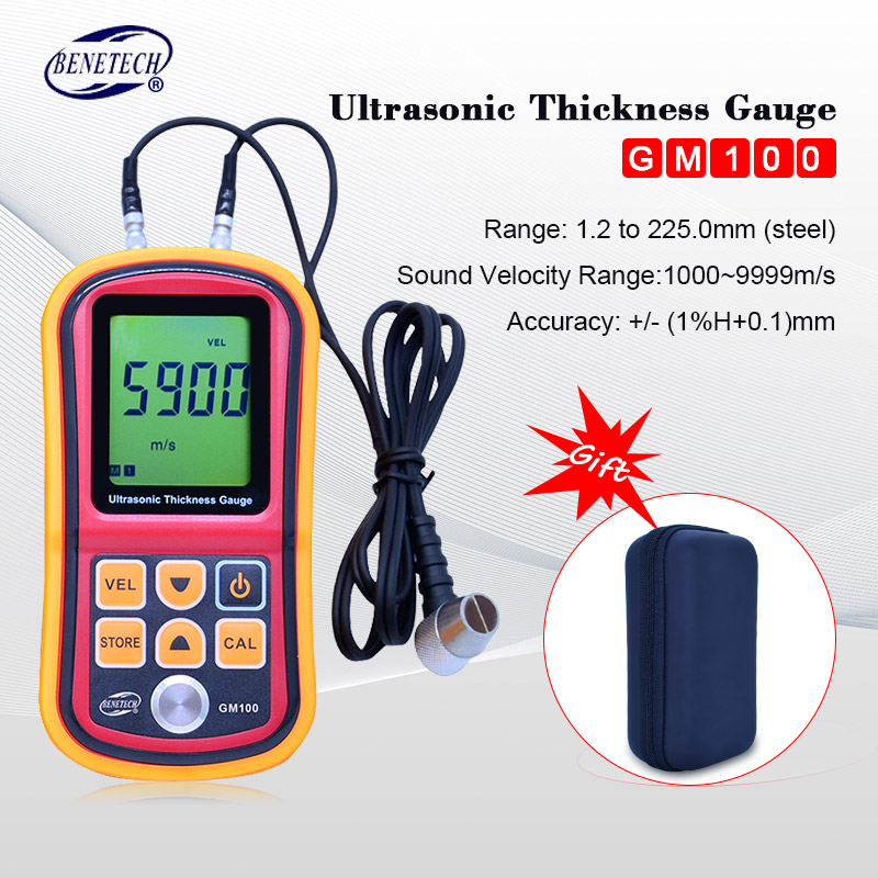 Benetech Ultrasonic thickness gauge GM100 1.2-225mm(Steel) Digital LCD Ultrasonic Thickness Meter Tester Gauge 0.1mm Resolution ultrasonic thickness gauge smart sensor ar850 1 2 225mm digital wall thickness meter