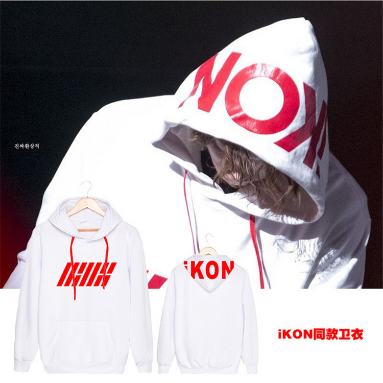 2016 IKON Nippon Budokan kpop same printing letters sweatshirt for men Casual Women Pullover Hoodies concert BOBBY bi k-pop top
