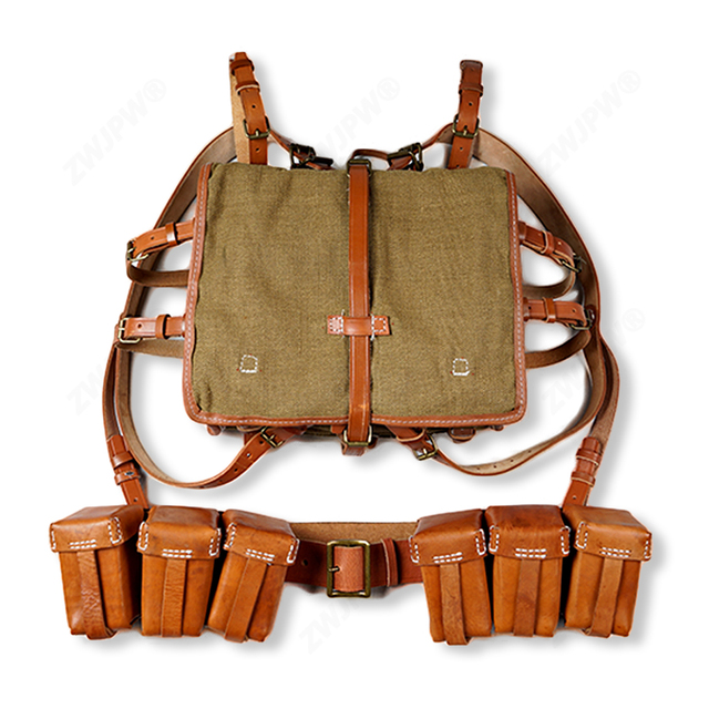 WW2 CHINESE ARMY KMT PACKAGE FIELD WITH WOODEN FRAM WITH A PAIR AMMO POUCH AND 50 BELT