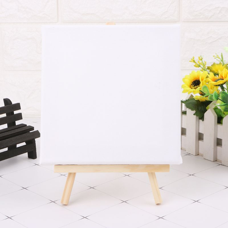 High Quality Blank Stretched Mini Canvas And Natural Wood Easel Set Displaying Pictures Business Cards With 7x12cm And 7x7cm Easels
