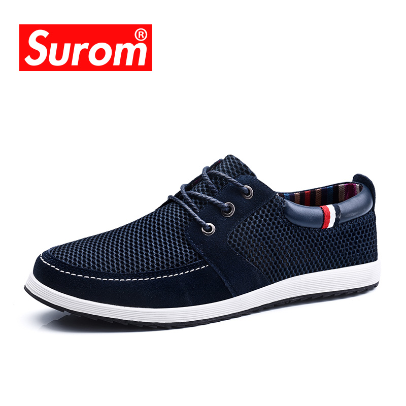 SUROM 2017 Men's Lace up Shoes Cut out England Suede Patchwork Mesh Fashion Men Casual Shoes with Platform Breathable Boat Shoes men casual shoes lace up mesh men outdoor comfortable shoes patchwork flat with breathable mountain shoes 259