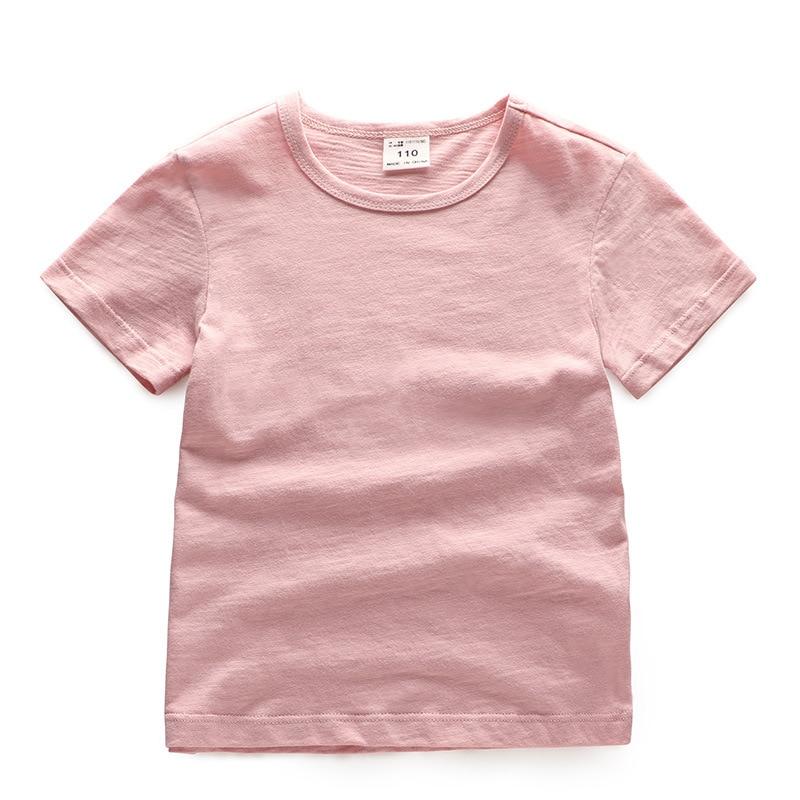 V-TREE; летние рубашки для мальчиков; хлопковые детские футболки; цветные топы для девочек; детская блузка с короткими рукавами; футболки для малышей; одежда для малышей - Цвет: solid pink