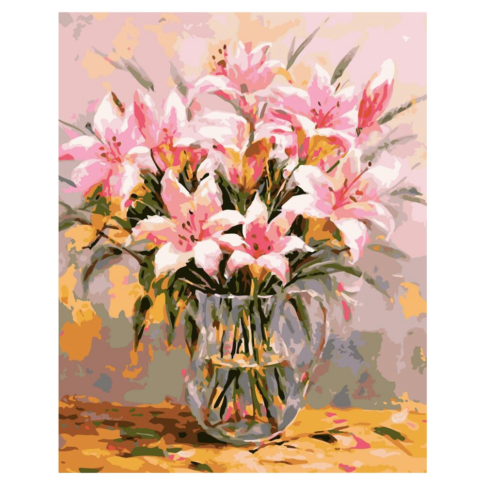 Frameless Canvas Art Oil Painting Flower Painting Design: Frameless Lily Picture On Wall Oil Painting Flowers Home