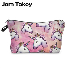 Jom Tokoy 2017 New Fashion Brand Cosmetic Bags 3D Printing Women Travel Makeup Bag