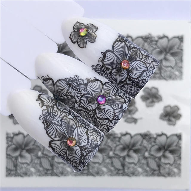 YZWLE 2019 Summer New Lace Flower Design  Nail Sticker Decal Water Transfer White Black Tips Women Makeup Tattoos