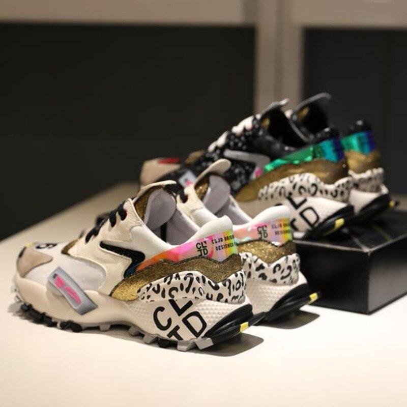 Ayakk.'ten Vulkanize Kadın Ayakkabıları'de Prova Perfetto 2019 Sneakers Kadın Moda Tıknaz Baba Ayakkabı Kadın Moda Kalın Taban Bayanlar Platformu Ayakkabı Bağcıkları zapatillas mujer'da  Grup 3