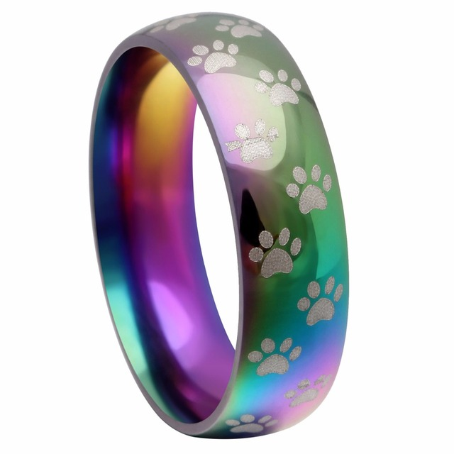 rainbow stainless steel ring for women animal bear paw dog footprint new model h