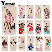 цена на Yinuoda Black Brown Hair Baby Mom Girl Queen Pattern TPU Soft  Phone Case for Apple iPhone 8 7 6 6S Plus X XS MAX 5 5S SE XR