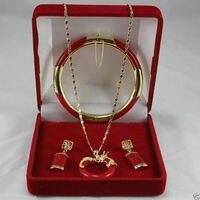Wholesale price 16new ^^^^New Jewelry stone Circle dragon Pendant Necklace Earring Bracelet Set