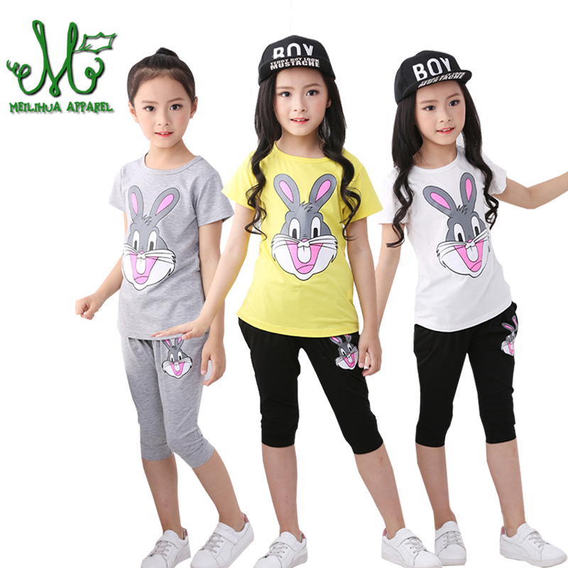 Baby Girl Summer Clothes 100%Cotton Girls Clothing Set Cartoon Children Clothing Sets T Shirt + Pants For 3 4 5 6 8 10 Year 2pcs children outfit clothes kids baby girl off shoulder cotton ruffled sleeve tops striped t shirt blue denim jeans sunsuit set