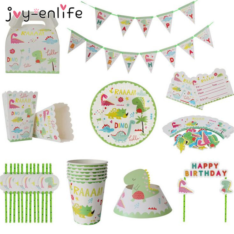 JOY-ENLIFE Dinosaur Party Disposable Tableware Sets Jungle Theme Cups/Plates Kids Birthday Party Decoration Baby Shower Supplies
