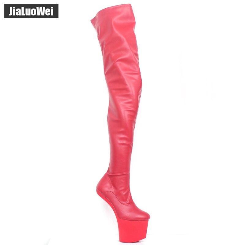 Non Talons Noir forme De Hauts talon Chaussures Femmes Plate Genou Extrême Bottes En Sexe Mat 20 Cm Jialuowei CoursLe Sexy Cuissardes Cuir dCBexro