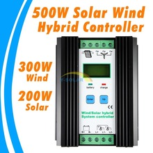 500 W 30A 12 V LCD Viento regulador híbrido solar del viento 300 W y 200 W de paneles solares Solar Económica viento Regulador Híbrido