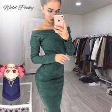 WildPinky Suede Long Sleeve Off shoulder Women Mid-calf Dress Autumn Winter Female Sexy Bodycon New Year Party Vestidos