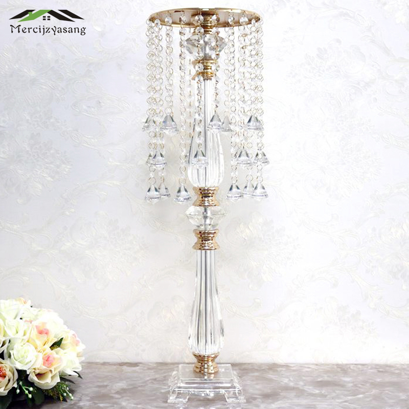 10Pcs/Lot Flower Vases Floor Crystal Vase Plant Floral Holder Flower Pot Road Lead for Home/Wedding Corridor Decoration G153