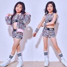 Childrens Jazz Dance Costumes Fashion Hip-hop Modern Costume Girls Sequin Street Performance Clothes Sets