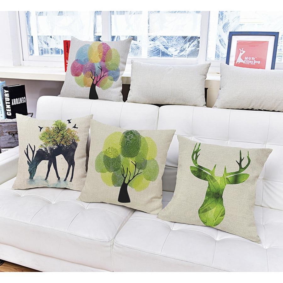 ≧Animal ELK Tree imprimir inicio decorativo Cojines Almohadas ...