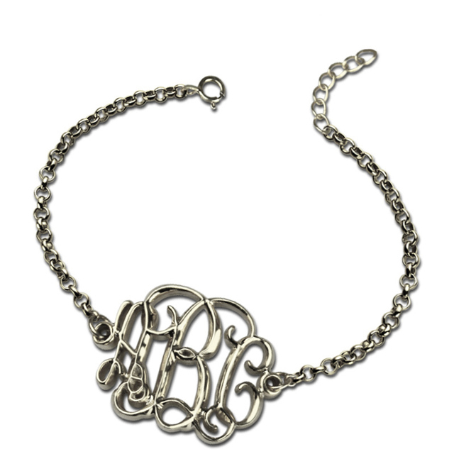 Ailin Silver Monogram Chain Bracelet Monogrammed Jewelry New Looking Get A Special Personalized Name