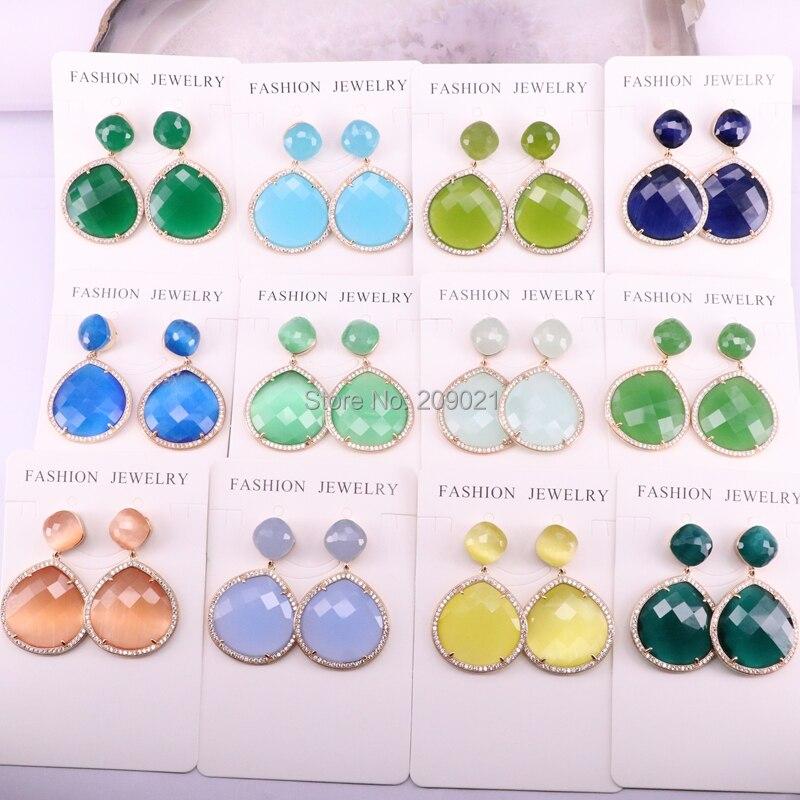6Pairs Colorful Nature Stone Water Drop Dangle Earrings Women Fashion Jewelry Womens Handmade Wedding Earring Gift