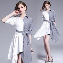 2019 European New spliced striped dress with irregular dislocation  dress  loose fashion women's clothing Short sleeve недорго, оригинальная цена