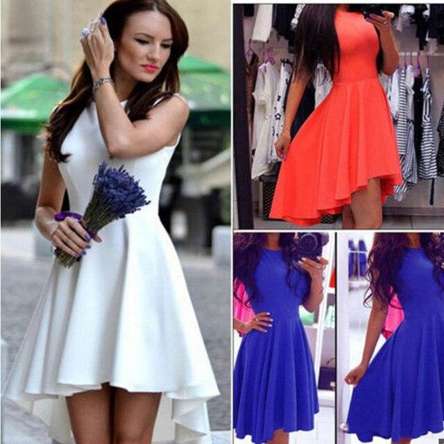2017 New Women's European Style Fashion  Solid Color Temperament Sleeveless Dress Irregular Hem Bottom Dress