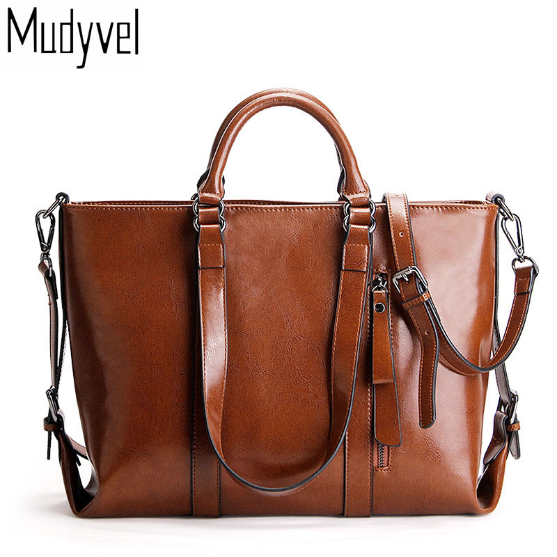 Luxury Leather Bags Designer Oil Wax Genuine Leather Brief Women Messenger Bags Quality Cow Leather Lady's Shoulder Bags luxury oil wax genuine cow leather women backpack small women s travel bags multifunction korean fashion women shoulder bags