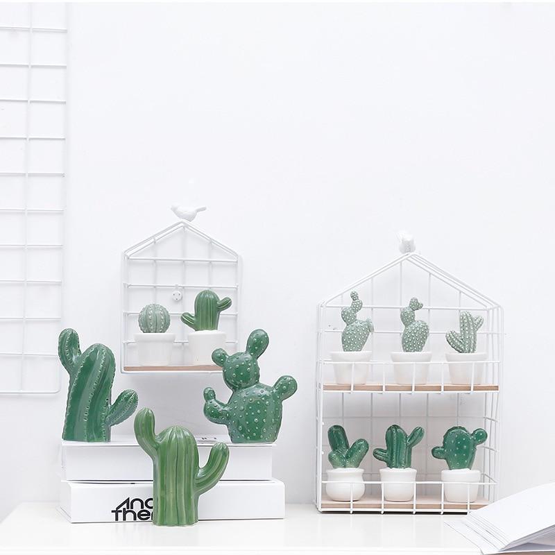 Us 4 49 10 Off Ceramic Cactus Succulent Lover Miniature Cacti Plants Fairy Garden House Diy Home Fl Decor Gardener In
