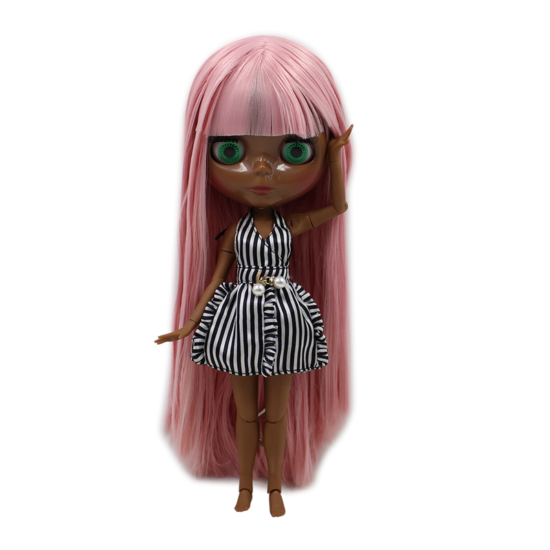 factory blyth doll super black skin tone darkest skin pink hair with bangs joint body 1
