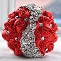 Único Rojo Artificial Ramos de Novia Ramos de Flores Broche de Cristal Rosas De Seda Ramo De La Boda Para Las Novias de Novia De Mariage 2016
