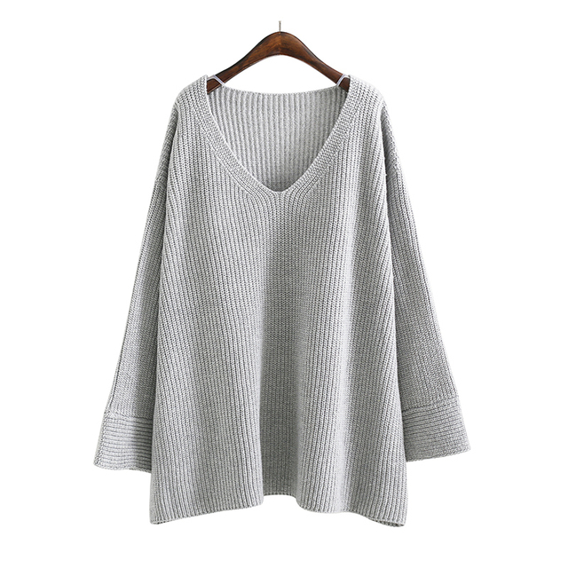 [AZURE SHEN] 2018 Europe New Spring Fashion Sexy Casual Loose Pullovers Women Sweater Solid Color Long Flare Sleeves K53502