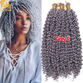14Inch Kinky Curly Crochet Braids Hair Freetress Water Wave Crochet Twist Purple Kanekalon Synthetic Braiding Hair Extensions