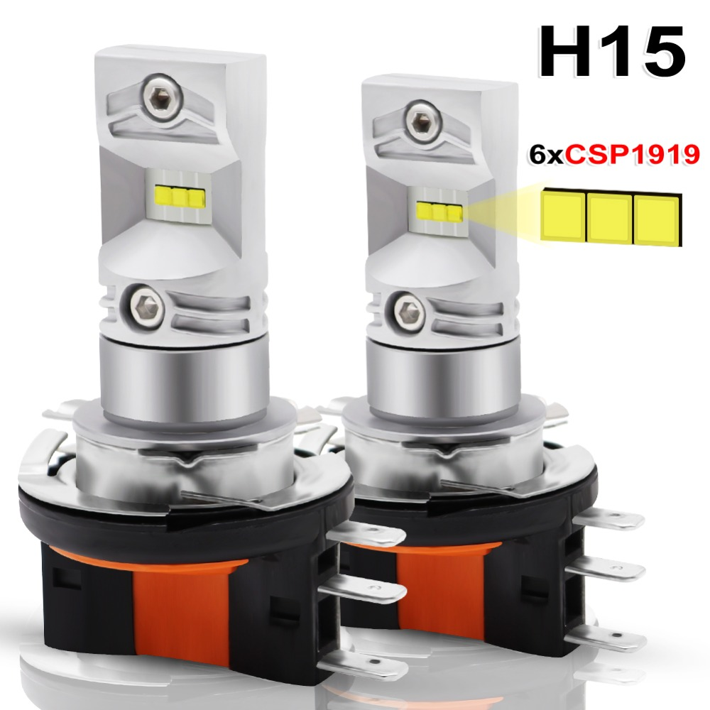 2pcs H15 LED Auto Fog Lamp 30W CSP 1919 Chip SMD LED High Power White 6000K Bulbs For Car Auto External Fog Light Headlight Lamp