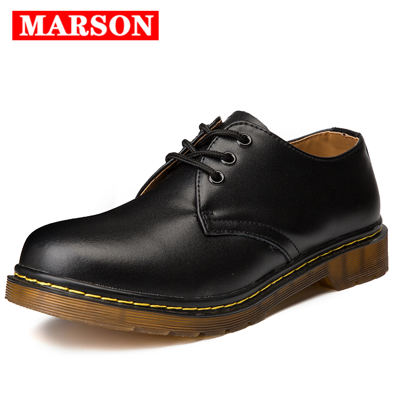 MARSON Men Spring/Autumn Oxford Men's Shoes Big Size Genuine Leather Shoe Fashion Casual Male Leather Moccasins Business Boots