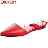 Egonery Flat Sandals Woman Handmade Genuine Leather Low Heel Pointed Toe Shoes Cross Tied Shoes Ankle
