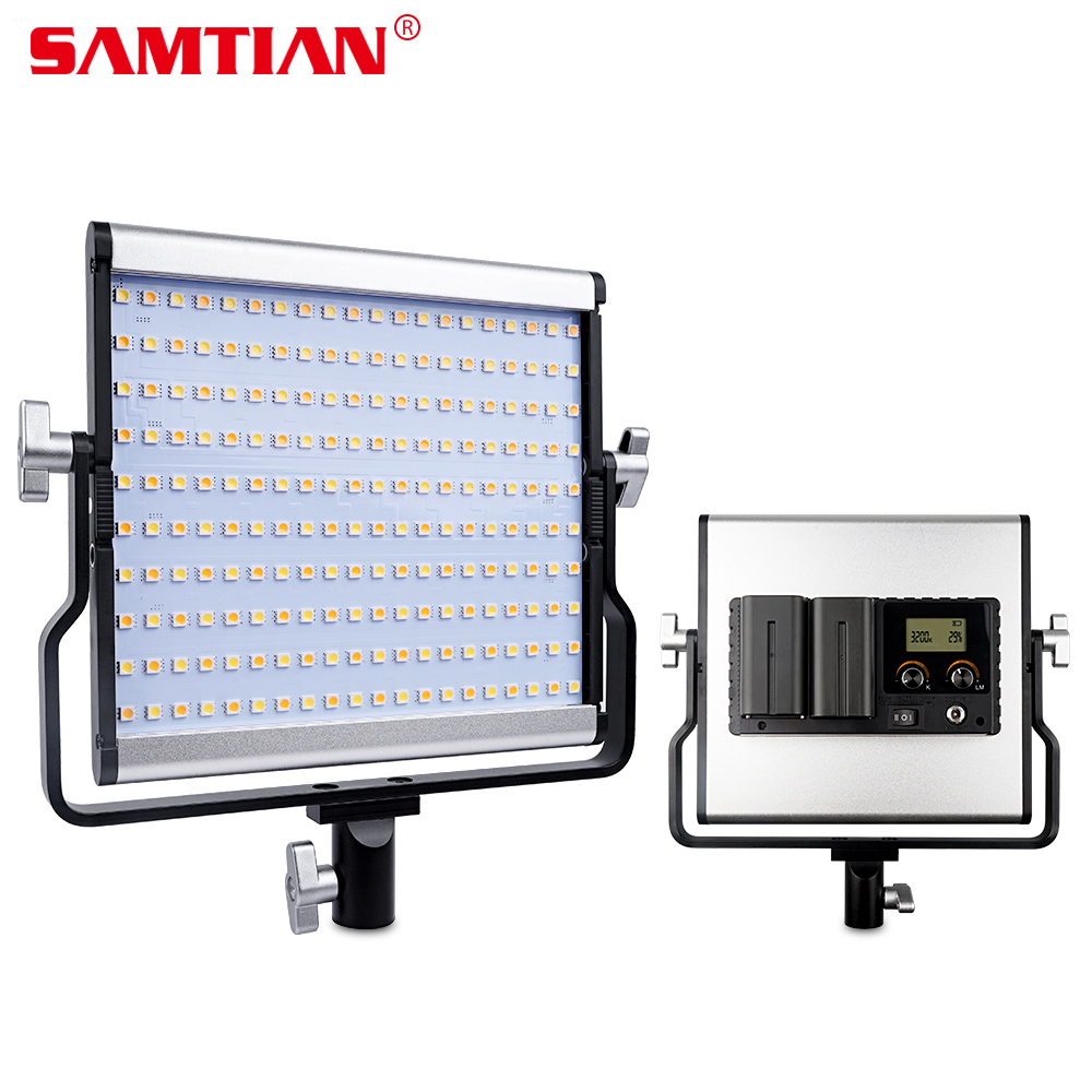 SAMTIAN L4500 LED Video Light Photographic Lighting Bi-color 3200K-5600K Dimmable Video Photo Studio Shoot Metal Panel Lamp