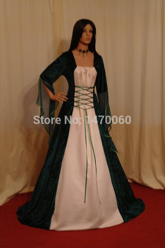 Superbe robe longue robe médiévale Satin ruban renaissance période costumes grande taille robe sur mesure toutes les tailles