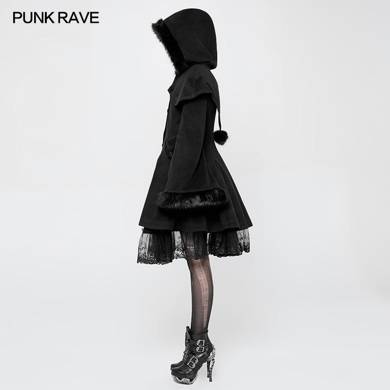Cosplay Robe Queue pie Noir À Capuche de longueur Lolita Rave Fête Gothique Veste Steampunk Moyen De Femmes Punk pB7qUwnCxY