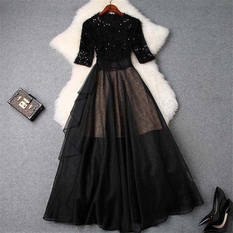 New Fashion Designer Spring Dress Women 2019 Elegant Half Sleeve Tassel Sequined Patchwork Mid Calf Tulle