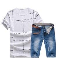 HCXY 2017 Summer T Shirt And Denim Shorts Set Brand Clothing Shorts Men Homme Printing Sportswear